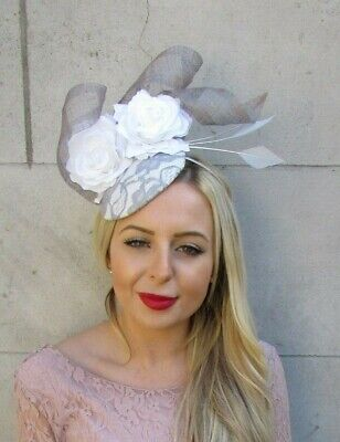 Grey White Rose Flower Feather Hat Fascinator Races Hair Floral Wedding 7183