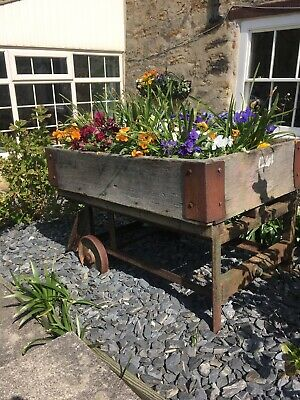 Reclaimed Industrial  Trolley Cart Cast Iron Wheels Garden Planter Rustic