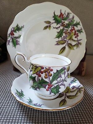 English Bone China Royal Albert Flower of Month Dec Tea Cup Saucer & Salad Plate