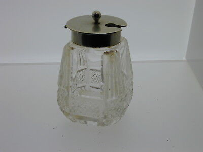 Silver plated glass mustard pot 73 mm tall 96.5 grams EPNS