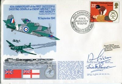 WW2 HMS Audacity cover signed by Eric winkle Brown & 802 Squadron commander
