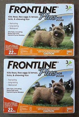 (2) MERIAL Frontline Plus Orange 3 Pack for Dogs Up To 22 lbs New Factory Sealed