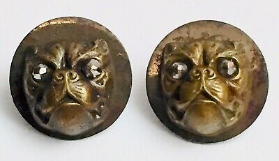Pair Antique Vintage Victorian French Bulldog Buttons Earrings Marcasite Eyes