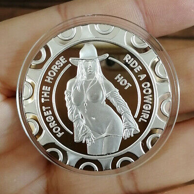 Sexy Striptease Hot Naked Cowgirl, 1 oz .999 Fine Silver Round Bullion Coin New!