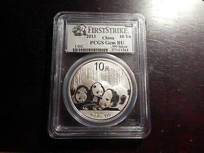 2013 1oz China Panda 10 Yuan .999 Silver Coin First Strike PCGS GEM BU