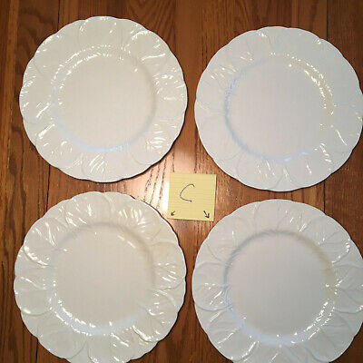 """4 Coalport Countryware White Cabbage Leaf Dinner Plates 10 3/4"""" Wedgwood LOT C"""