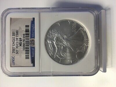 2007 EAGLE S$1 MS69 NGC 25 Years of Silver Eagles Label