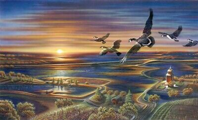 Terry Redlin Sunset HD Print Art Home Decor Oil Painting on Canvas 12x20 inch