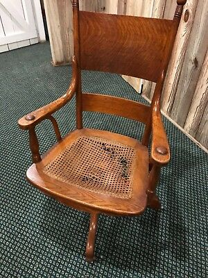 Vintage pre1930 Antique Oak Swivel CANE Wood Banker Lawyer Rolling Swivel Office