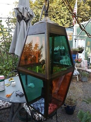 Swag Lamp Mid Century Hollywood Regency 4 Color Red Green Yellow Blue Retro Vtg
