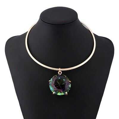 Big Diamond Rhinestone Necklace Gold Plated Jewellery Pendant Mother's Day Gift