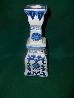 Blue & White Porcelain Candlestick Holder  Chinese Delft  7.5 inch Single Taper
