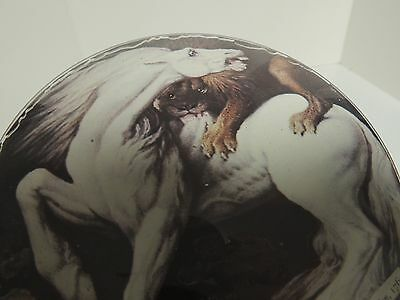 paperweight type heavy glass dome with white horse attacked by lion hand made