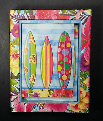 Punch Studio Hawaiin floral picture frame 12 ocean surfboard note cards New