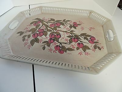 "Vintage Hand Painted Pink Peaches Tole/Toleware Metal Tray-Signed""Maxey"""