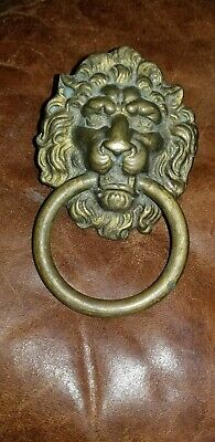 Vintage Solid Brass  Lion Head door knocker with ring