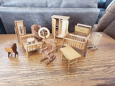 Vintage light Wood Dollhouse Furniture Accessories Miniatures Mixed Lot 13 pc.