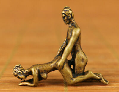 Mini Rare Chinese archaize brass hand carved art figure statue