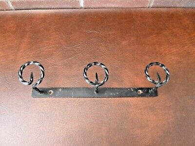 Vintage French Wrought Iron 3 Coat Hook Rack Rustic Chic