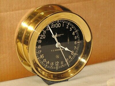 Chelsea U.s.navy Ships Clock~6 In~24 Hr Dial~1976~Hinged Bezel~Restored
