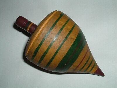 Antique 19th Century Childs Wooden Toy Top Painted Yellow Red Green Large Size