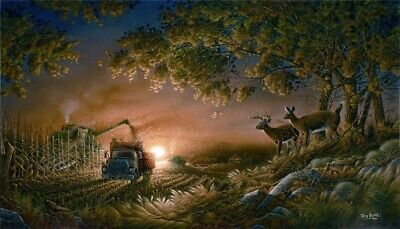 Terry Redlin Sunset Harvest HD Print Art Home Decor Oil Painting on Canvas 12x20