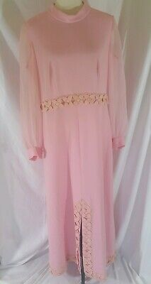 71da98ae968 VTG 60s 70s Embroidered Maxi Dress Pink Lace Trim High Neck Boho Chiffon  Sleeves
