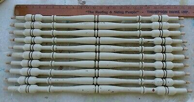 "10 CHIPPY Creamy Paint ARCHITECTURAL SALVAGE Wood Turned SPINDLES 25"" Baluster"