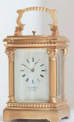 Swiss Minute repeater miniature carriage clock. J W Benson retailer