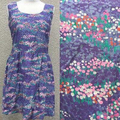 True Vintage Malia Purple Art Graphic Print Cotton Hawaiian Sun Dress Stylish M