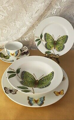 QUEEN'S china BUTTERFLY Place Setting: Dinner & Salad Plates, Bowl, Cup & Saucer
