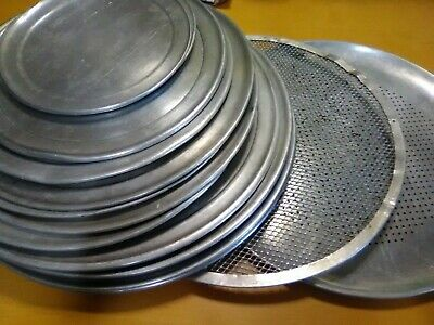 """Lot of 18 Pizza Trays Pans screen various sizes large ones are 17"""""""