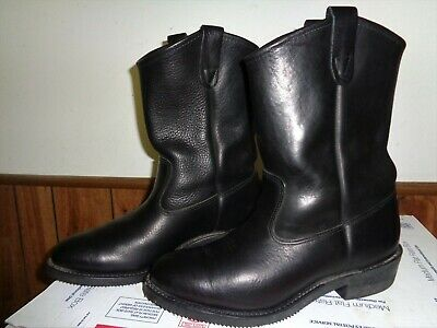 d23884ad7ff DOUBLE H BOOTS Ranchwell Men's Black Leather Pull On Roper Boots ...