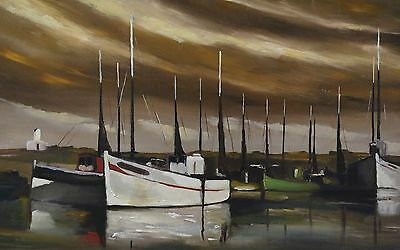 The Port of Lesconil Finistère Country Bigouden Brittany Antique Oil on Panel