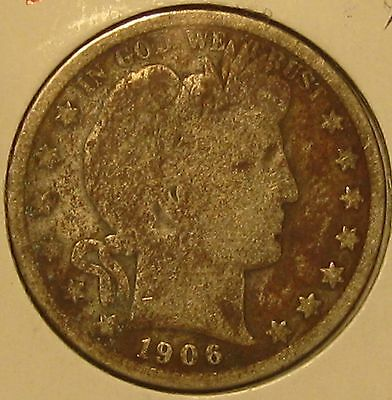 1906 Barber Silver Half Dollar, Good!!!!!!  Free Shipping!!!!!!