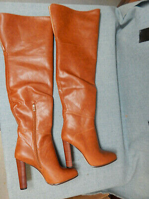 2c73d45be11 Prova Perfectto Leather High Heel Over the Knee Cuffed Knee High Boot Size  11