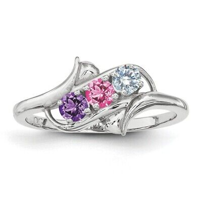 4794848607521 CUSTOM BIRTHSTONE RINGS 1- 4 Stones Sterling Silver, Mothers Day ...