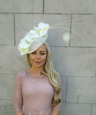 Large Cream Orchid Feather Flower Saucer Disc Hat Fascinator Races Big Hair 7184