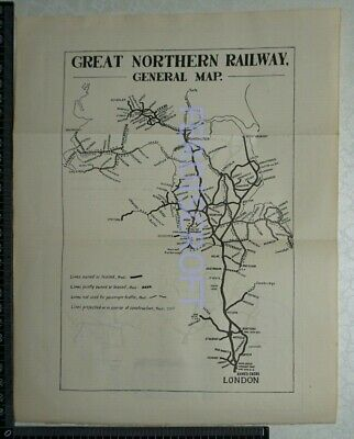1922 Vintage Great Northern Railway General Map - London, Doncaster, Leeds....