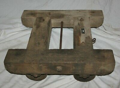 VINTAGE WOOD w/CAST IRON WHEELS U.S. NAVY CONTRACT No. a-1122 ROLLING CART DOLLY
