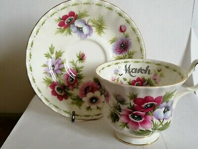 royal albert flower of the month march  tea cup and saucer 1st quality boxed