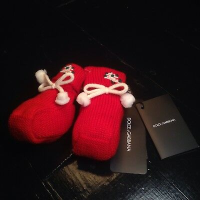 BNWT DOLCE & GABBANA Baby Girl Wool Shoes Size 1 RRP £150