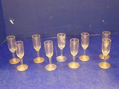 Antique Vintage Footed Stemmed Cordial Liquor Glasses Clear Glass Rare Lot of  9