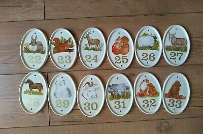 1980s handpainted ceramic house sign numbers oval shape