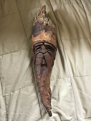 "Vintage Wood handcarved Bearded Man Face  Wall Hanging 16"" tall"