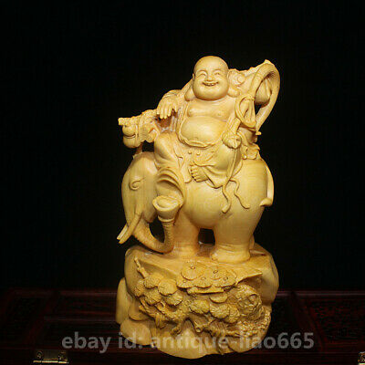 Chinese Box Wood Hand Carved Ride Elephant Happy Laugh Maitreya Buddha Statue弥勒佛