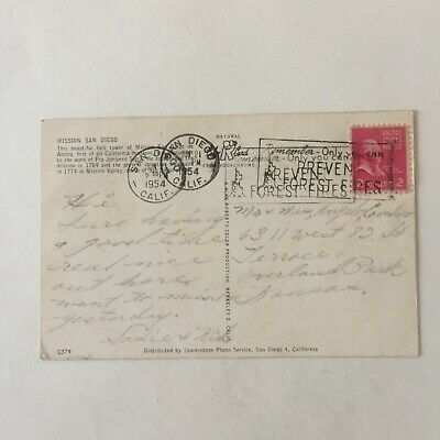 Tower of Mission San Diego Postmark 1954 California Posted Postcard