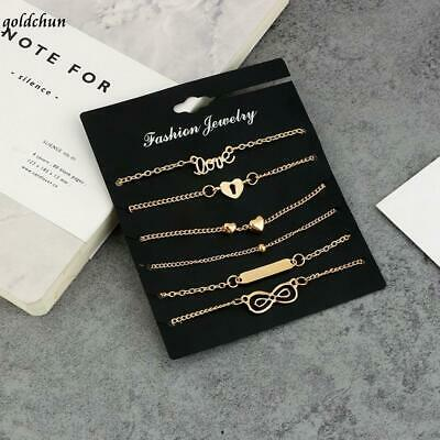 6 Pcs Set Fashion Heart Love Anklet Bracelets Foot Chain G0cn Jewelry & Watches