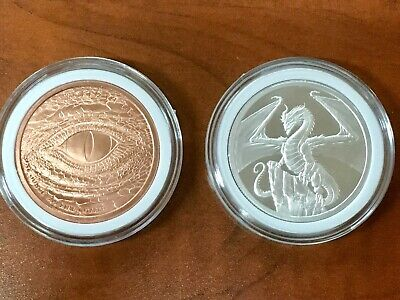 THE WELSH DRAGON 1 oz Silver Round Coin AND 1 oz Copper | World of Dragons