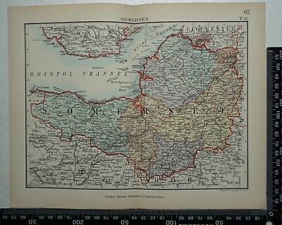 1885 Original Stanford's Parliamentary Map of Somerset